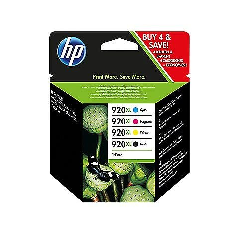HP 920XL Combo Pack Ink Cartridges Black Cyan Magenta Yellow C2N92AE