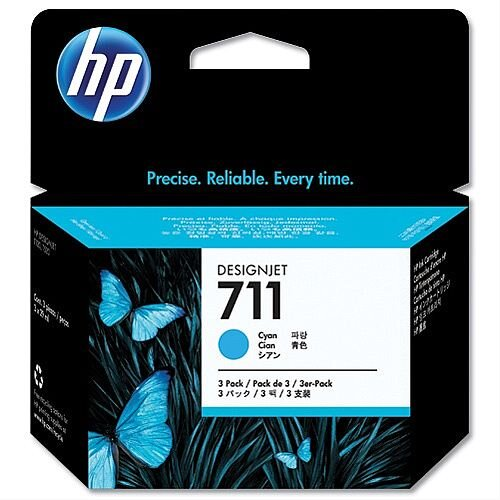 HP 711 Cyan Inkjet Cartridge CZ134A Pack 3