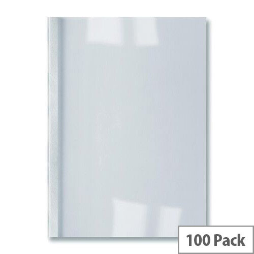 GBC Thermal Binding Covers 4mm Leathergrain White Ref Pack 100