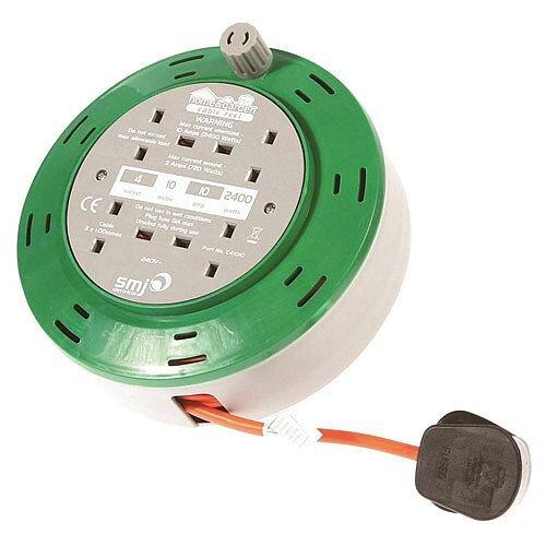 Home Cable 4-Sockets Cassette Reel 10m Ref C21010