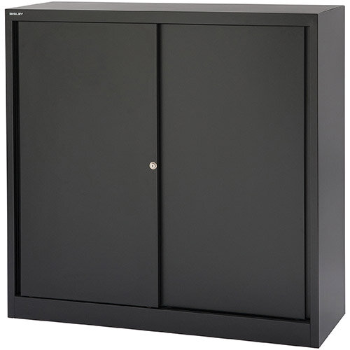 Bisley EuroTambour SD412/11  1181mm  Low Sliding Door Cupboard with 2 Shelves  Black