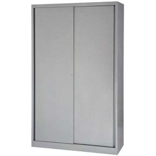 Bisley Sliding Door Cupboard with 4 Shelves W1200xH1980 Silver Ref SD412/19/4S-arn