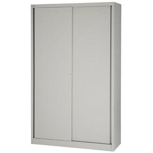 Bisley EuroTambour SD412/19 Tall Sliding Door Cupboard with 4 Shelves  Goose Grey