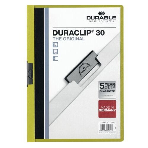 Durable Duraclip Folder PVC Clear Front 3mm Spine for 30 Sheets A4 Green Ref 220005 [Pack 25]