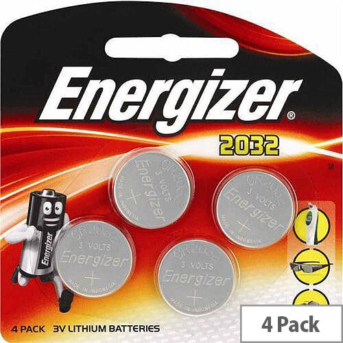 Energizer CR2032 Button Cell Coin Batteries Lithium Battery (Pack 4) Ref 637762