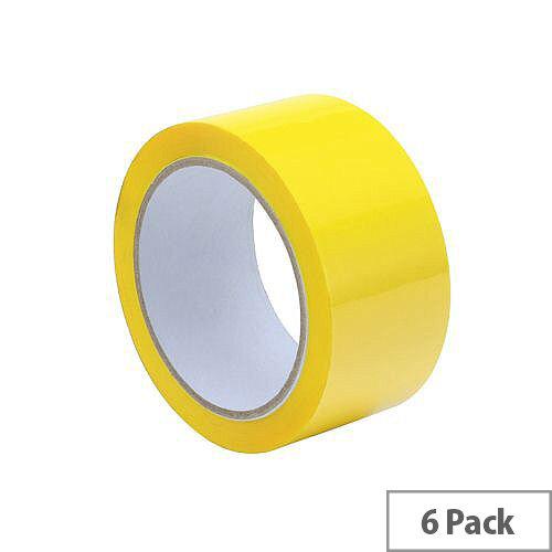 Packing Tape Polypropylene 50mmx66m Yellow (Pack 6)