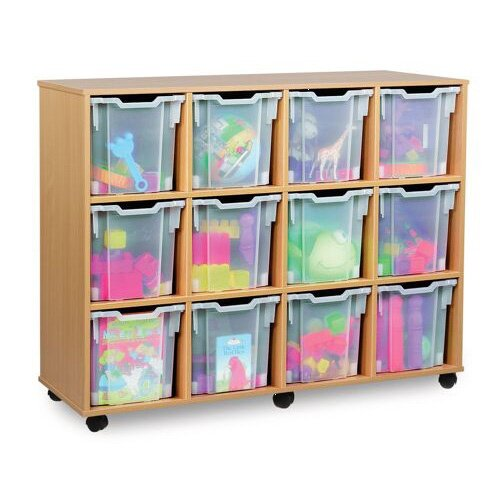 Mobile Storage Unit With 12 Clear Jumbo Trays Beech Ref MEQ1015-12 Clear