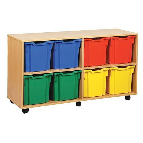 Trexus by Monarch Mobile Unit With 8 Coloured Jumbo Trays Beech Ref MEQ1021-8 Coloured