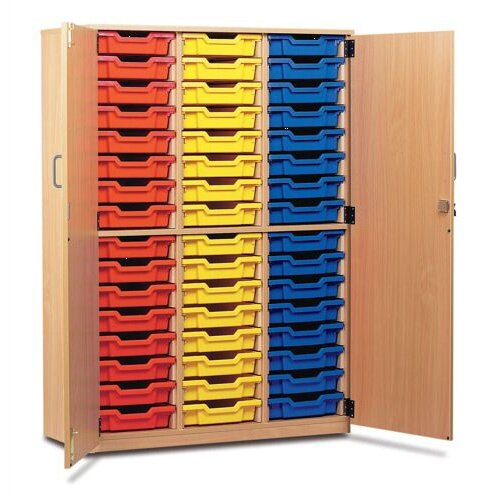 Trexus by Monarch Tray Cupboard With Doors With 48 Coloured Shallow Trays Beech Ref MEQ48C-48 Coloured