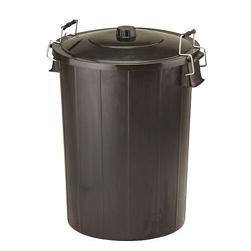 Refuse Bin With Lid and Metal Clip Handles 80 Litre Dustbin Black - Strong and durable with side handles - dimension 480x710mm Ref GN346