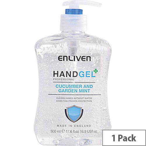 Enliven Hand Sanitizer Original Fragrance Cucumber & Garden Mint 500ml (Pack 1) Ref 502169