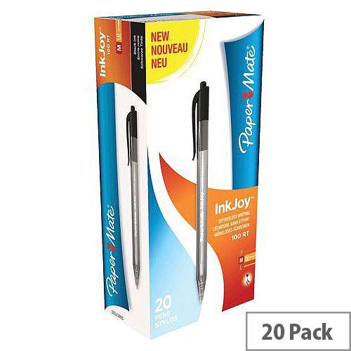 Paper Mate Inkjoy 100 Retractable Ballpoint Pen Black Ref S0957030 [Pack 20]