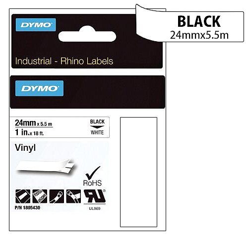Dymo Rhino Tape Permanent Vinyl 24mm Black on White Ref 1805430