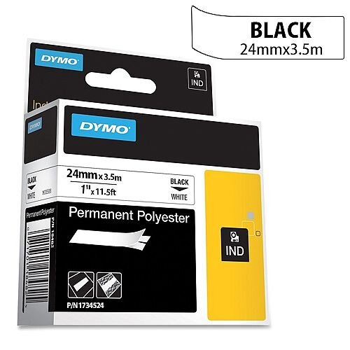 Dymo Rhino Tape Permanent Nylon 24mm Black on White Ref 1734524
