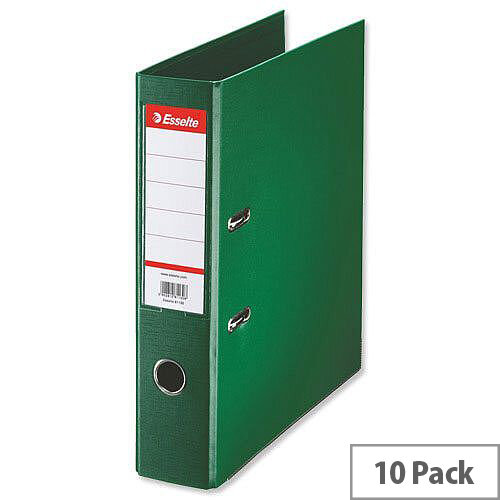 Esselte A4 Polypropylene 75mm Green Lever Arch File Pack of 10
