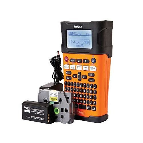 Brother PTE-300VP Handheld Industrial Labelmaker with Case - Rugged, durable design. Large backlit graphic LCD display - takes Brother TZe Tapes