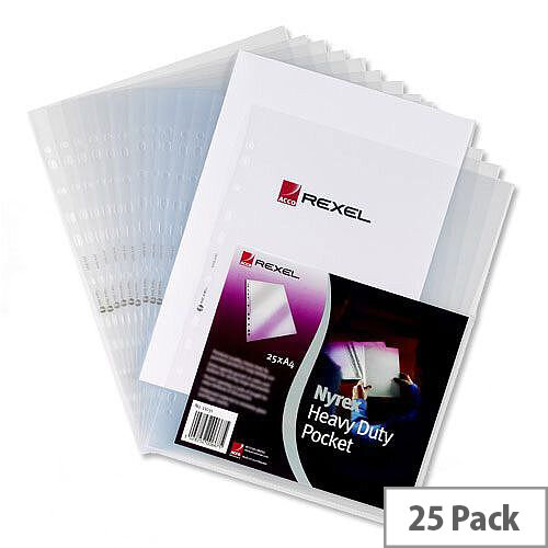 Rexel Heavy Duty Top &Side Opening Punched Pocket A4 Clear 120 Micron Pack 25