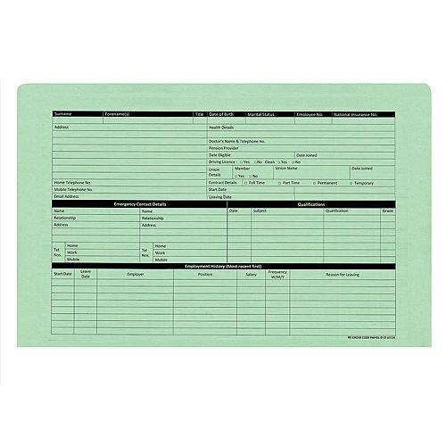 Personnel Wallets Green Ref PWG01 Pack 50