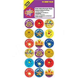 Sticker Solutions Circular Shaped Smiley Faces Reward Pack Assorted [10 Sheets]