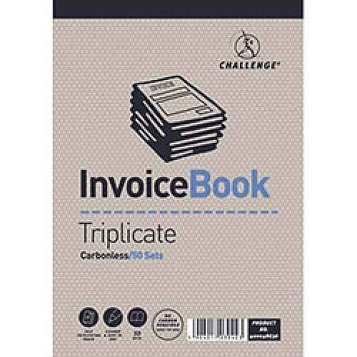 Challenge Triplicate Book Headbound Carbonless Invoice Ref 400048636 [Pack 5]