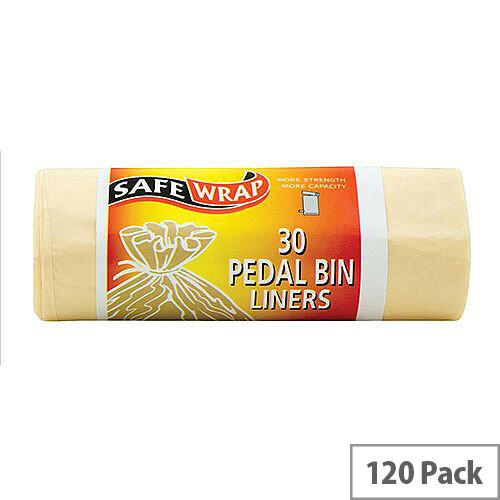 Robinson Young Safewrap Pedal Bin 15L Liners 450x1060mm 30 Sacks per Roll White [4 Rolls]