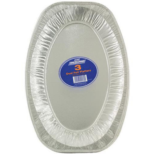 Caterpack Oval Food Platters 43cm Aluminum Foil Trays (Pack of 3)