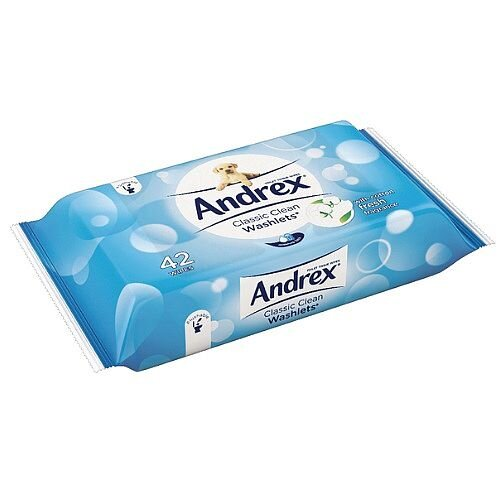 Andrex Toilet Tissue Moist Washlets Flushable 42 Sheets Wet Wipes (Pack 1) Ref M01384