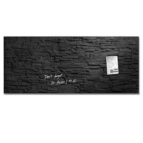 Sigel Artverum Tempered Glass Magnetic Board with Fixings 1300x550mm Slate Ref GL249