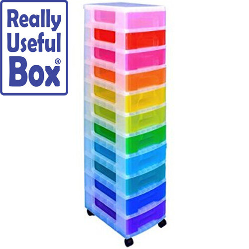 Really Useful Mobile Storage Tower 11x7L Drawers Multi-Coloured Ideal For Use In Homes, Offices, Schools &More. Supplied With Removable Castors For Ease Of Use.