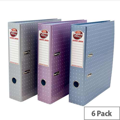 Pukka Metallic Lever Arch File A4 Assorted Pack of 6 Ref 6444-MET