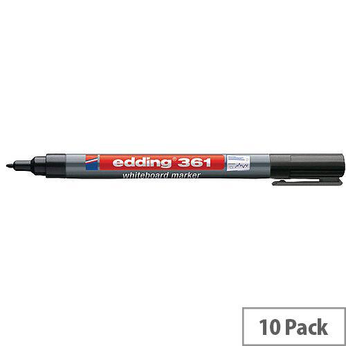 Edding 361 Whiteboard Markers Bullet Tip 1mm Line Black(Pack 10)
