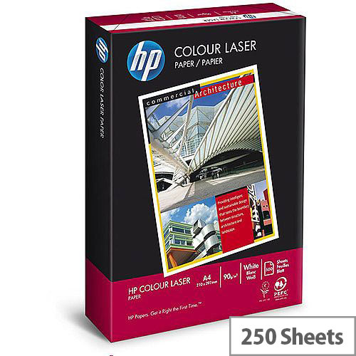 Hewlett Packard Colour Laser Paper Card Smooth 200gsm A4 White (Pack of 250 Sheets)