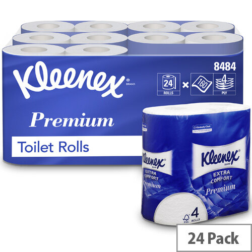 Kleenex Comfort Small Toilet Tisse Paper Roll 4-ply 4 Rolls of 160 Sheets Ref 8484 [Pack 24]