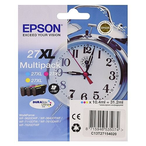 Epson Alarm Clock 27XL Cyan/Magenta/Yellow High Yield Inkjet Cartridges (Pack of 3) C13T27154010