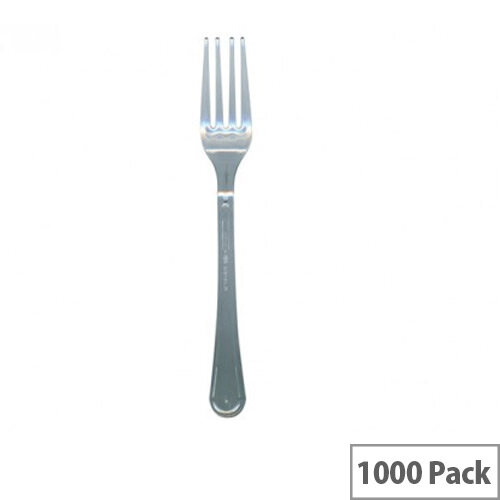 Disposable Cutlery Premium Plastic Forks Clear Pack of 1000