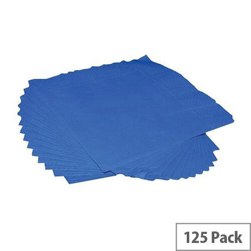 Napkins 2 Ply Paper Tissue 400x400mm Square Royal Blue Pack 125