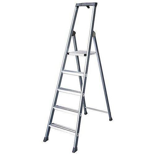 Aluminium Steps 7 Tread Extra Deep Height 1.5m Silver
