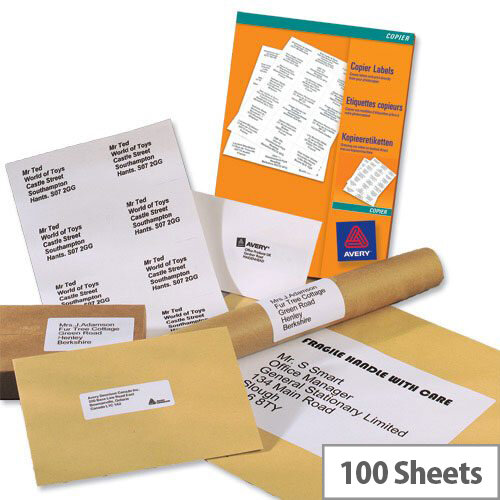 avery white copier labels 10 per sheet 105x57mm white 1000 labels