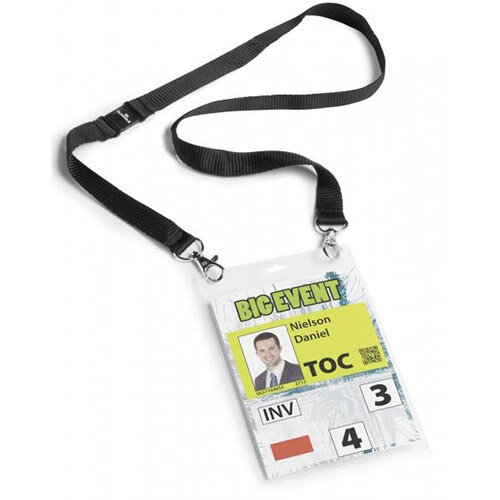 Durable A6 Name Badge with Textile Necklace 10 Pack – Avoids Contorting Of Badges, Professional Layout, Transparent, Insert Badges, 88cm Textile Length (126660)