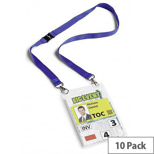 Durable  A6  Name Badge with Textile Necklace Duo  Blue  Pack of 10 Badges