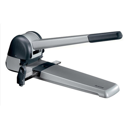 Leitz Extra Heavy-Duty Long- Handled Hole Punch  Metallic Black  250 Sheets of 80gsm Paper