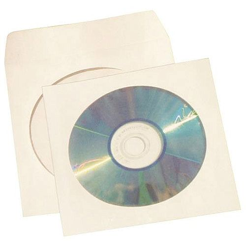 5 Star Office CD/DVD/Blu-Ray Disc Envelope Sleeve with Window  White  Pack of 50