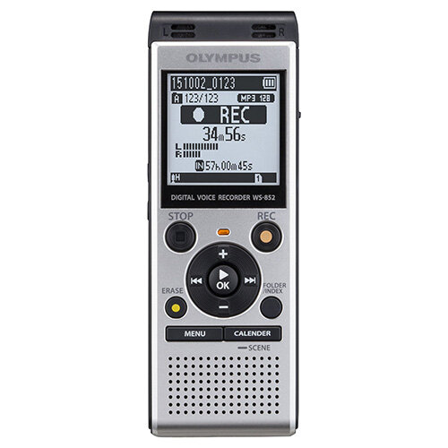 "Olympus WS-852 Digital Stereo Voice Recorder 4 GB Memory MP3 Built-In USB Key Silver. ""Auto Mode"" Evens The Volume From The Sound Source. The Input Level is Reduced For Louder Volumes, &Decreased For Lower Volumes. Easy To Slot Into PC Or Mac For Easy Da"
