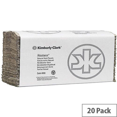 Kimberly Clark Hostess C-Fold Hand Towels Brown 20 Sleeves of 180 Towels (3600 Sheets)