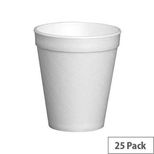 Foam Insulated Disposable Cups 7oz/200ml White for Hot Drinks [Pack of 25]