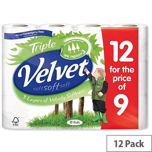 Triple Velvet Toilet Tissue Paper Rolls White 200 Sheets per Roll Toilet Paper Rolls Pack 12