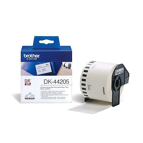 Brother P-touch DK-44205 62mm x 30.48m Continuous Removable White Paper Tape