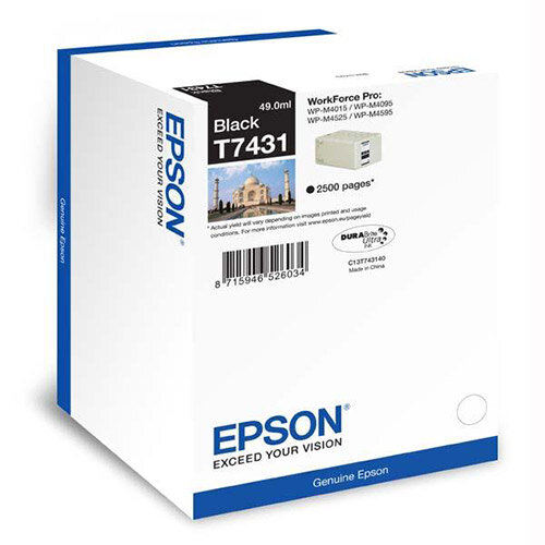 Epson T7431 Black Ink Cartridge (Yield 2500 Pages) for WorkForce Pro WP-M4000/WP-M4500 Series Inkjet Printers C13T74314010