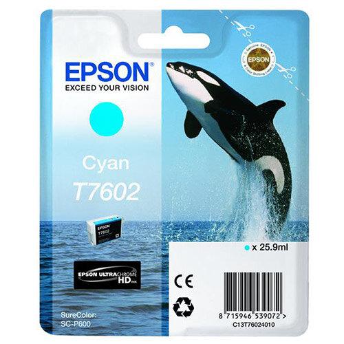 Epson T7602 (25.9ml) Cyan Ink Cartridge for SureColor SC-P600 Printer C13T76024010
