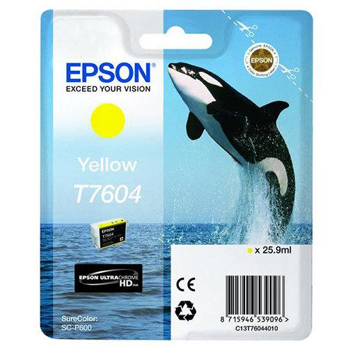 Epson T7604 (25.9ml) Yellow Ink Cartridge for SureColor SC-P600 Printer C13T76044010